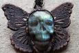Top View of Skull Butterfly Labradorite Long Boho Necklace