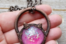 Closeup View of Copper Electroformed Magenta Kitty Head Necklace