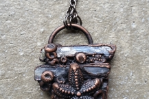 Closeup View Starfish Electroformed Copper Mermaid Necklace