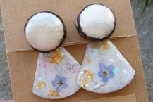 Top View of Electroformed Pearl Stud Earrings with Botanical Ear Jackets