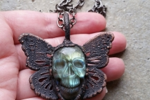 Closeup View Copper Electroformed Butterfly Skull Blue Labradorite Boho Necklace