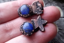 Closeup of Lapis Lazuli Mismatched Moon and Stars Stud Earrings