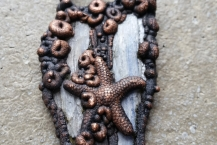 Closeup View Long Handsculpted Starfish Electroformed Copper Necklace