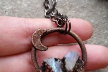 Top View of Mini Crystal Traveler Moonstone Moon Long Necklace