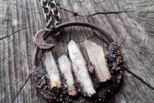 Closeup View Raw Quartz Copper Electroformed  Mountain Crystal Traveler Necklace