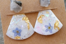 Top View Raw Moonstone Stud Earrings with Botanical Ear Jackets