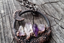 Medium Closeup of Copper Amethys Mountain Crystal Traveler Necklace