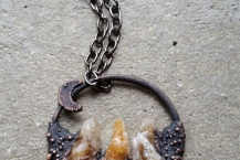 Closeup of Copper Electroformed Raw Citrine Mountain Crystal Traveler Necklace