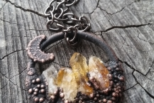 Closeup of Copper Electroformed Citrine Mountain Crystal Traveler Necklace Small