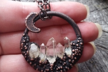 Electroformed Crystal Quartz Mountain Crystal Traveler Necklace ( Medium)
