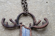 Closeup view of Raw Blue Kyanite Woodland Spirit Electroformed Necklace
