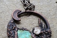 Closeup of Electroformed Turquoise Mountain Crystal Traveler Necklace Medium