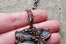 Closeup View Handsculpted Starfish Electroformed Copper Necklace