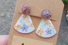 Top View Strawberry Quartz Stud Earrings with Botanical Ear Jackets